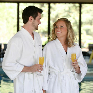 couple at spa pool