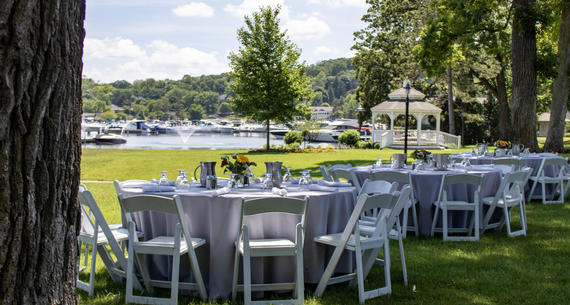 lunch set on harbor lawn