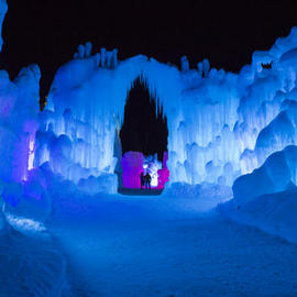 ice castle at night
