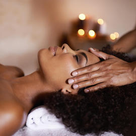 woman receiving spa service