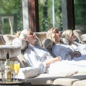 group relaxing in spa