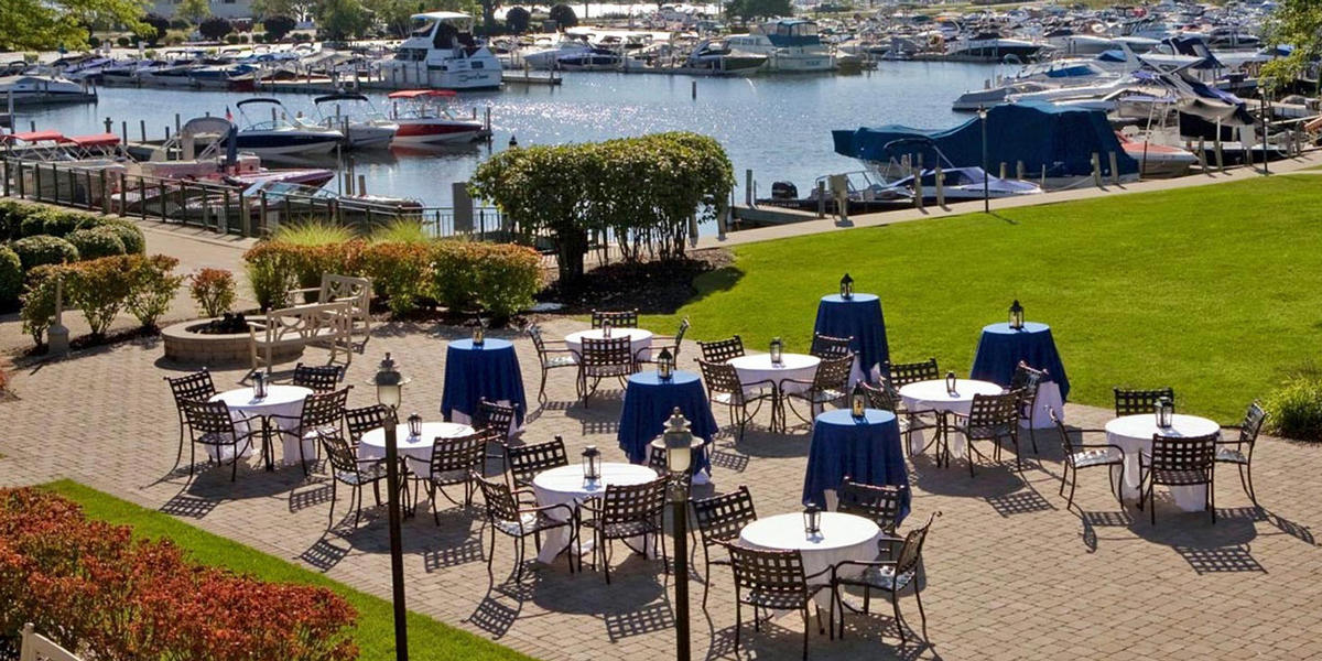 meeting set up on harbor patio