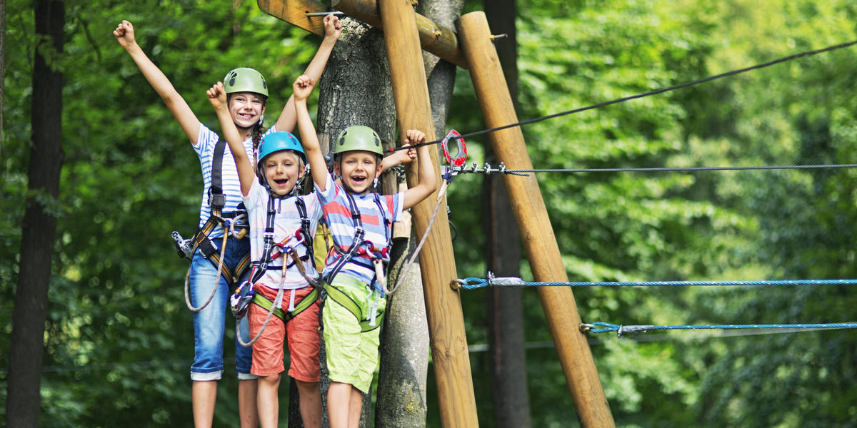happy kids ziplining